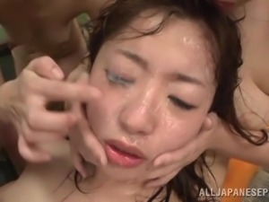 bukkake party at onsen