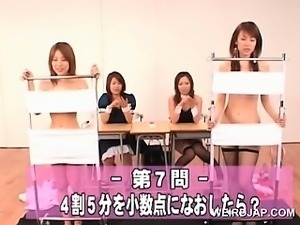 Delicate asian cuties flashing hairy cunts at a sex seminar