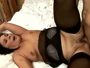 Mature lady Margo T. in hot stockings seduces her neighbour and gets her...