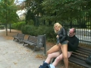 Horny blonde fucking in public