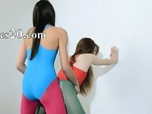 Hairy lesbs in nylon pants loving