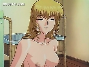 Hot hentai blonde showing her sexy tits to a cute dude