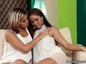 Hot brunette lesbians go crazy licking