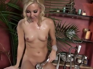 Sweet and horny blonde porn star Aaliyah Love plays with her pussy in the...