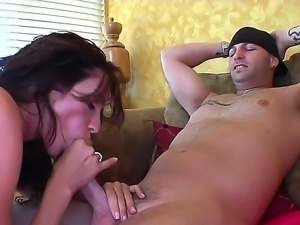 Whorish brunette milf Ariella Ferrera with huge fake melons gets nailed rough...