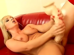 Naughty lesbos Kissy and Lee Lexxus are having fun masturbating both with...