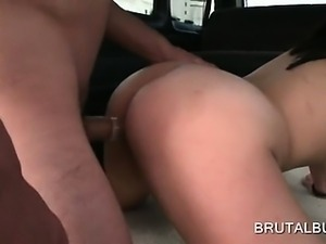 Sex starved amateur naked babe banged doggy style in bus