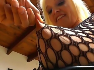 Busty blonde enjoys naughty teasing before having her wet vag drilled in...
