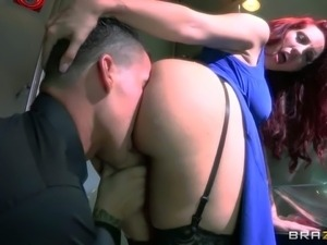 Cock loving lusty redhead bombshell Kelly Divine with big juicy hooters and...