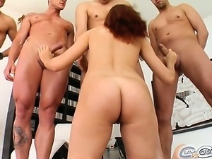 Lia absolutely loves to suck dick. She polishes off four ready to rock cocks....