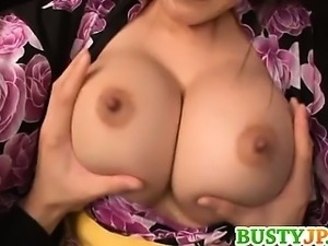 Cute chick Yuuri himeno nipple pinching and cum on tits