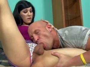 Attractive brunette Ryder Monroe has a surprise in her panties.