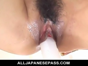 No Sound: Gorgeous Nana Nanami toying her holes