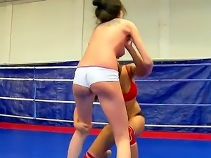Naughty wild hotties Angelica Heart and Denisa Doll fighting and teasing one...