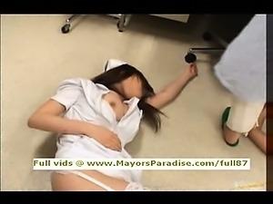 Japanese AV chick is a naughty nurse in lovely lingerie