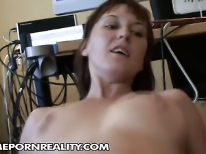 Redhead with huge boobs shows off her hot body as she gets her mouth fucked...
