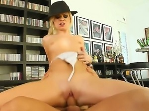 Precious blonde chick Yasmine is enjoying hot fuck with two big cocked fucker...