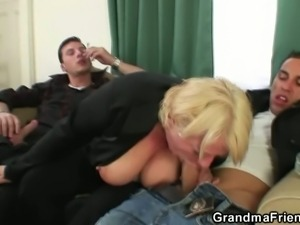 Drunk blonde mature gets pounded by two dudes