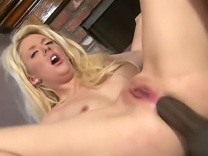 Hot blonde watches as her wet tight pussy and ass get fucked hard by a white...