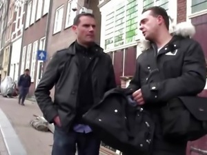 Real dutch blonde prostitute jerks tourist cock
