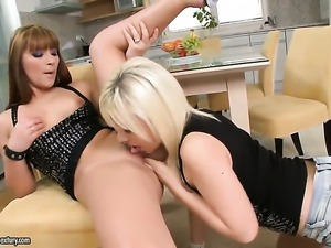 Blonde Bibi Noel gets her pussy tongue fucked outrageously by Lana S