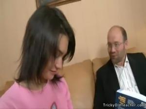 Brunette schoolgirl earning a A free