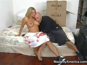 Heavy chested blonde honey with big boobs and tanned body Kate Frost enjoys...