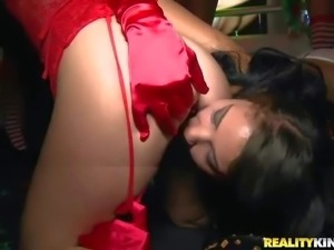 Dakota and Mia Li are the hottest babes at a VIP party. They turn club party...