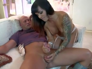PornSharing.com porno video : This tattooed dark haired shemale with big tits...