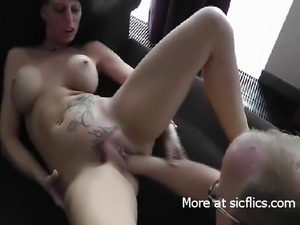 Hot brunette fist fucked in her loose tattooed cunt