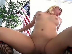 Hot ass blonde bitch Casey Cumz with big tattoo over upper back gives head to...