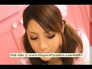 Risa Tsukino asian in waitress uniform sucking huge cock