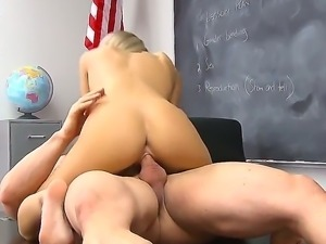 Slender blonde schoolgirl Kiera Knight with small tits and sexy tattoo on...