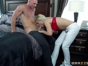 Turned on stud Johnny Sins with muscled body and shaved head gets seduced by...