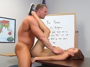 Slender brunette schoolgirl Mae Meyers with long whorish nails and tight ass...