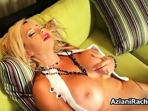 Horny milf blonde with huge tits loves