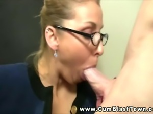 MILF amateur teacher takes huge cumload