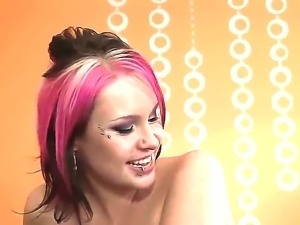 Kinky young slut Shame Ryder with pink hair and provocative facial piercings...