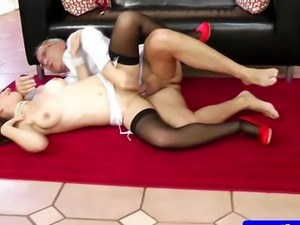 Teen amateur in stockings riding dick