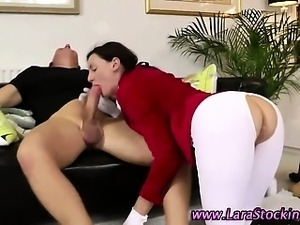 Euro stocking milf sucks and fucks