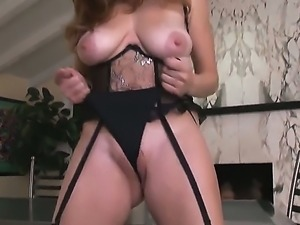 Stunning brunette hottie Jamie Lynn wears sexy black lingerie while playing...