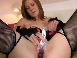 Gyno toys and peeing of her nasty pussy