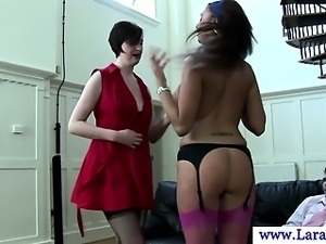 Euro milf spanks hot babe in threesome