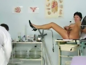 Mature housewife eva visits gyno doctor