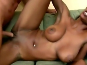Pretty white dude seduces exciting ebony hottie Erika Vution to have...