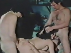 Porn legend Vanessa Del Rio in her first gangbang as she fucks three horny...