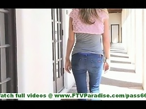 Ashley pretty little blonde flashing panties and flashing pussy and toying pussy
