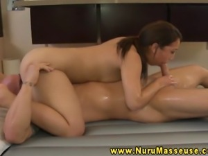 Masseuse tugs and sucks off her clients horny client