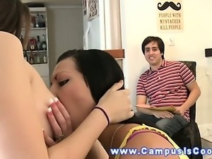 Coed teen go lez at dorm room fuck fest