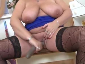horny bbw and her double ended dildo
